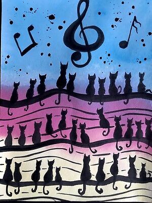 Music Brings Us Together. Cat Art Sienna Mayfair A4 Original Painting FREE POST