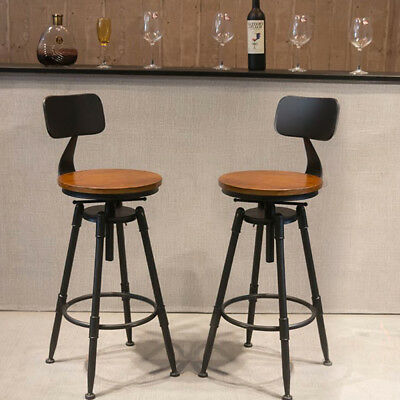 UK Industrial Retro Rustic Urban Bar Stool 360° Swivel Cafe Counter Chair 220LB