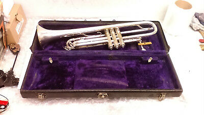 Antique Martin Dansant Silver Plated Trumpet 1930 Hand Crafted Elkhart Indiana