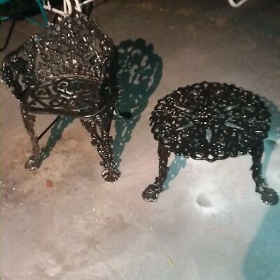 8 pcs Antique Victorian Cast Iron Bench chairs table Grapevine furniture Garden
