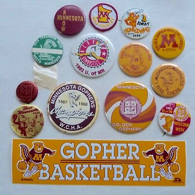 Lot of 14 University of Minnesota pinback buttons and bumper sticker - MN