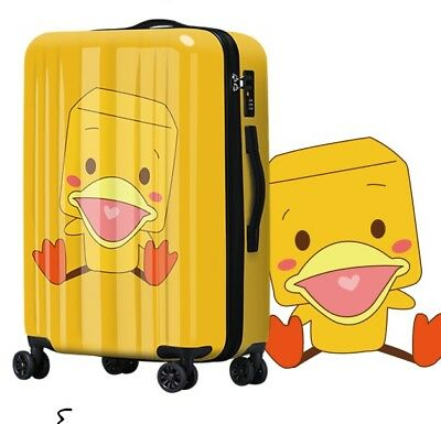 D92 Lock Universal Wheel Duck Pattern Travel Suitcase Cabin Luggage 20 Inches W