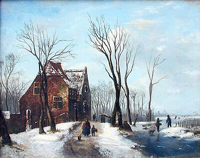 "Antique Dutch Oil Painting LODEWIJK KLEIJN 'Winter Scene', "" 11.5 x 14"""