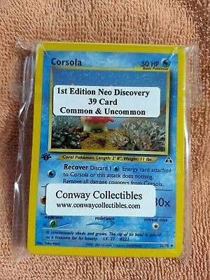 Pokemon Complete Set 39 Card 1st Edition NEO DISCOVERY Common and Uncommon NM