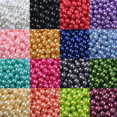 Wholesale Colorful Round Glass Pearl Loose Spacer Beads DIY Craft Jewelry Making