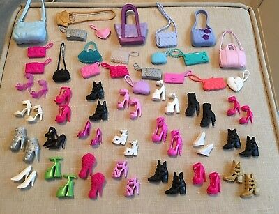 Lot of Barbie Shoes and Handbags - Genuine Mattel 22 Pairs of Shoes and 22 Bags