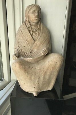 Vintage Austin Productions Indian Woman Sculpture: Artist Signed Marshall
