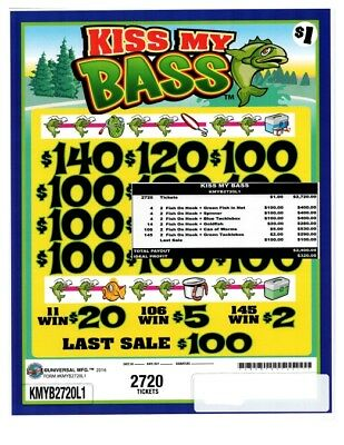 """""""Kiss My Bass"""" 3W $1 Pull Tab 2720 Tickets Payout 12-$100s"""
