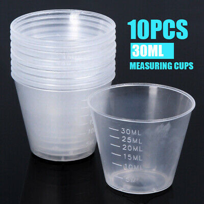 10Pcs 30ml Plastic Clear Measuring Cups for Kitchen Utensils Laboratory Liquids