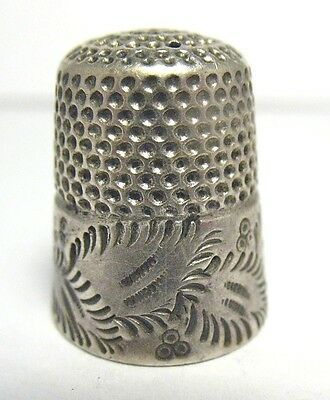 Antique Sterling Silver Thimble Size 7 Initials Nm  6/22/17 #17  4.3 Gram Syboll