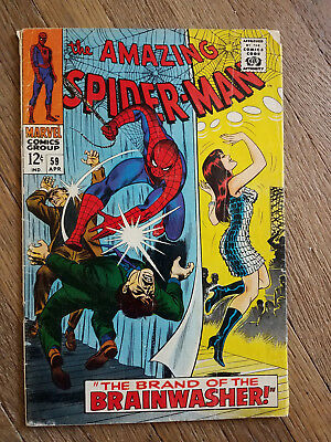 Amazing Spiderman #59 1968 1st Mary Jane Watson Cover. Low Grade. Marvel Silver