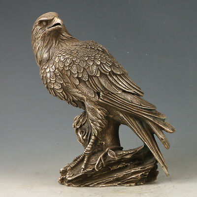 Chinese Exquisite Handmade Silvering Copper Eagle statue GL557