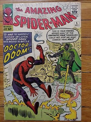 Amazing Spiderman #5 1963 Dr Doom xover Nice Book. Bright Colors. Pen on Cover