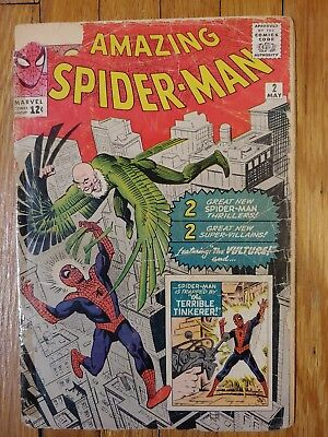 Amazing Spiderman #2 1963 1st Vulture. Low Grade Filler. Marvel Silver Age