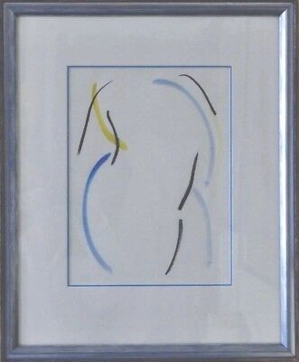 Canadian Art Lithograph by John Shaw, SILHOUETTE IN CONTE, about 18x24 framed