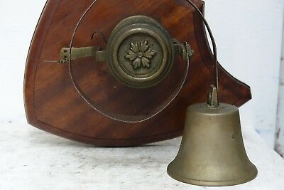 Charming Old Door Or Servants Bell Mounted On A Shield Plaque - Rare - L@@k