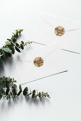 24 'Thank You' Round Kraft Stickers | Wedding Labels Party Gift Packaging Letter