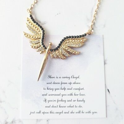 Gold white & black crystal wing guardian angel protection pendant necklace gift