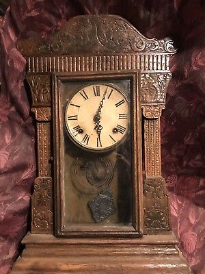 Very Old Wooden Clock Case With Pendulum And Clock For Parts Or Repair Or  Art