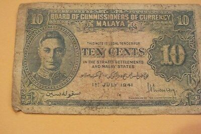 1941 Malaya Ten Cents