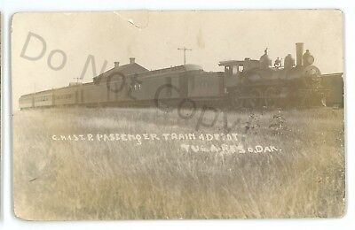 RPPC Chicago Milwaukee Road St Paul Train Station TULARE SD Real Photo Postcard