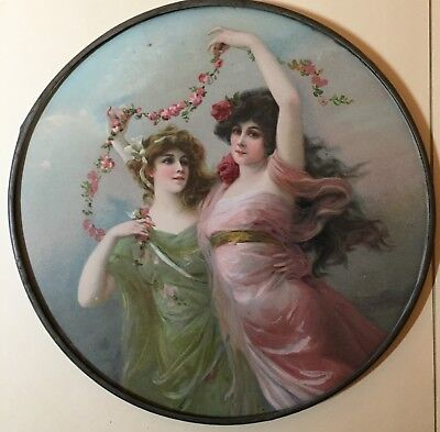 Antique Victorian Chimney Flue Cover - Two Women And Roses