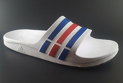 238cad2e12a4 (10) Adidas Duramo Slides White Blue Red Mens Womens Sports Sandals Slippers