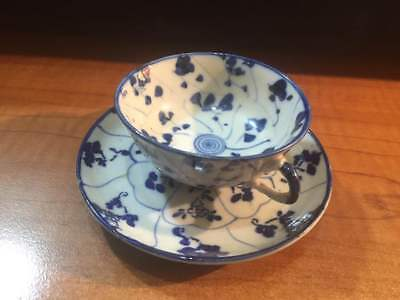 Antique China Export Chinese blue and white porcelain cup and saucer