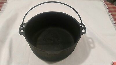 "Vintage Solid Cast Iron Hanging Dutch Oven Pot Pan 10.5"" Camping Outdoor Cooking"
