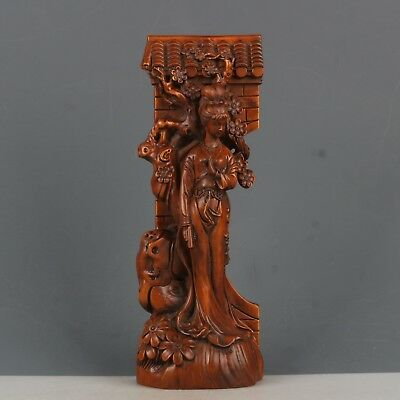 Chinese Exquisite Hand-carved beauty flower carving Boxwood statue