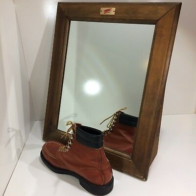 Vintage Red Wing Shoes Boots Department Shoe Store Floor Mirror Wood Primitive