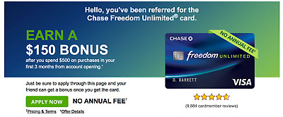 Chase freedom unlimited $150 refer coupon