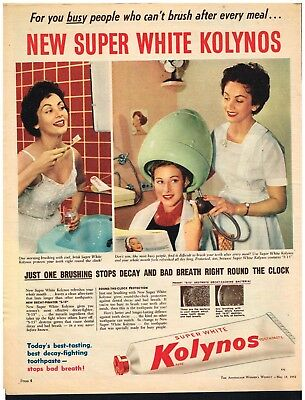 KOLYNOS TOOTHPASTE AD DENTAL SALON DECOR Original 1950s Vintage Print Ad*Retro