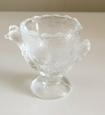 Vintage Pressed Glass Chicken Egg Cup Good Condition