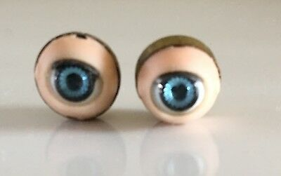 VINTAGE PAIR OF PRETTY BLUE SLEEP EYES APPROXIMATELY 16mm FOR VINTAGE DOLL