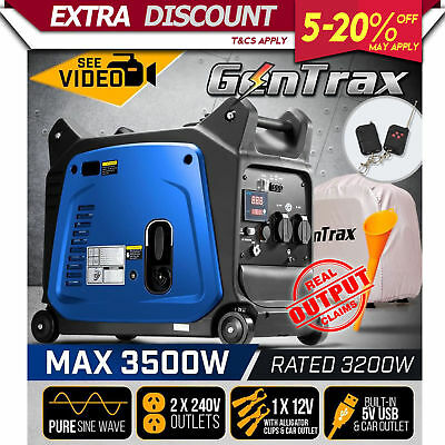 GenTrax Inverter Generator 3.5KW Max 3.2KW Rated Remote Portable Camping Petrol