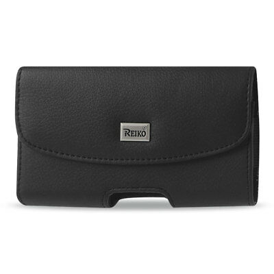 Reiko Horizontal Leather Pouch With Embossed Logo In Black (6.0X3.3X0.7 Inches)
