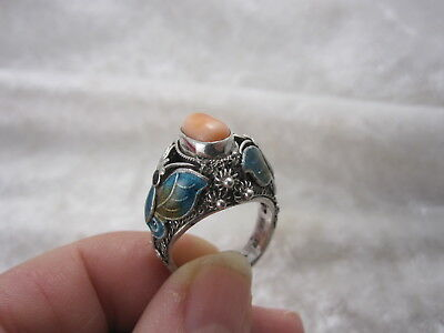Vintage Chinese Silver enamel butterfly Coral Ring
