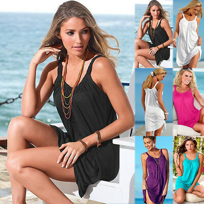 UK Women Summer Holiday Strappy Dress Ladies Bikini Cover Up Kaftan Beach Dress