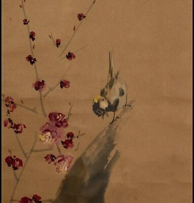 JAPANESE PAINTING Bird HANGING SCROLL OLD JAPAN Picture ANTIQUE VINTAGE d114