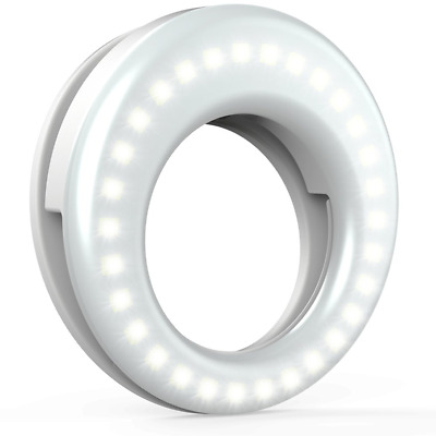 LED Selfie Light Ring Circle Lighting Clip On Rechargeable Cell Phone Laptop Cam