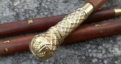 Solid Brass Long Design Handle Head Walking Stick cane Victorian Wooden Style