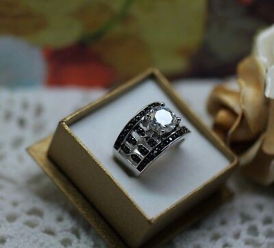 Art Deco Vintage Jewelry Gold Ring Black And White Sapphires Antique Jewellery