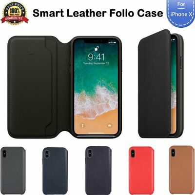 Genuine Leather Folio Flip Wallet Case Cover For Apple iPhone 10WX