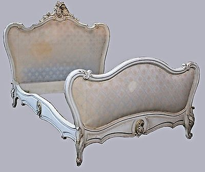 Antique French Venetian Rococo Carved Ornate Headboard & Footboard BedFrame Full
