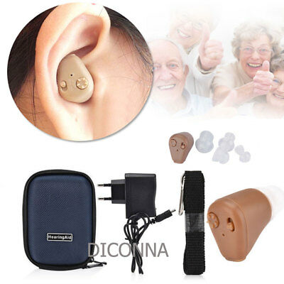 A Pair Rechargeable Digital Mini In Ear Hearing Aid Adjustable Tone Amplifier FR