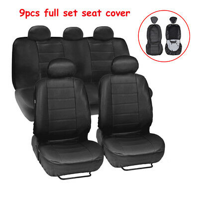 Auto Car 9pcs Full Set Seat Cover Pad Mat Front & Rear Seat  PU Leather Cushion
