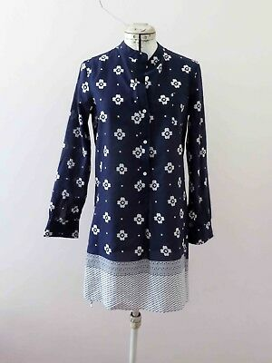 Blue White Long Sleeve Cotton Shirt Dress Sm- Med  Free Postage for 3 + items