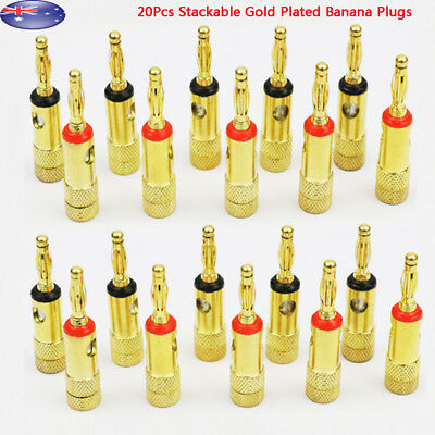 20pcs Stackable Gold Plated Banana Plugs Speaker Wire Connector 4mm Plug AU