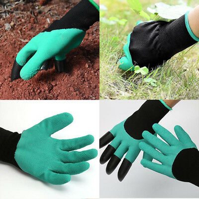 NEW Garden Genie Gloves For Digging&Planting with 4 ABS Plastic Claws Gardening